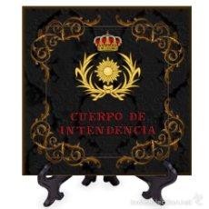 Militaria: AZULEJO 15X15 CON EL EMBLEMA DEL CUERPO DE INTENDENCIA CON FONDO NEGRO. Lote 58388594
