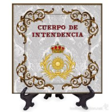 Militaria: AZULEJO 15X15 CON EMBLEMA DEL CUERPO DE INTENDENCIA. Lote 58405108