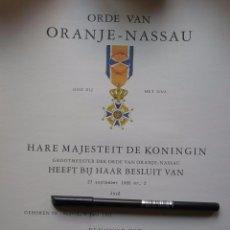 Militaria: DOCUMENTO DE CONCESIÓN O DIPLOMA DE LA ORDEN DE ORANGE. MÁXIMA CONDECORACIÓN DE HOLANDA.. Lote 58444342