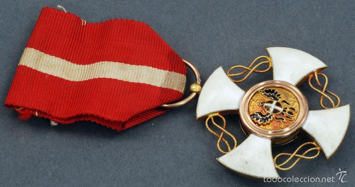 CRUZ ORDEN CABALLERO CORONA ITALIA ORO Y ESMALTE CON CINTA (Militar - Medallas Extranjeras Originales)