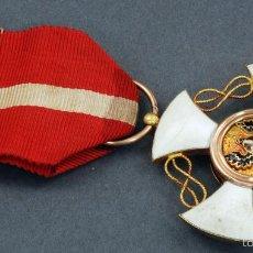 Militaria: CRUZ ORDEN CABALLERO CORONA ITALIA ORO Y ESMALTE CON CINTA. Lote 59159775