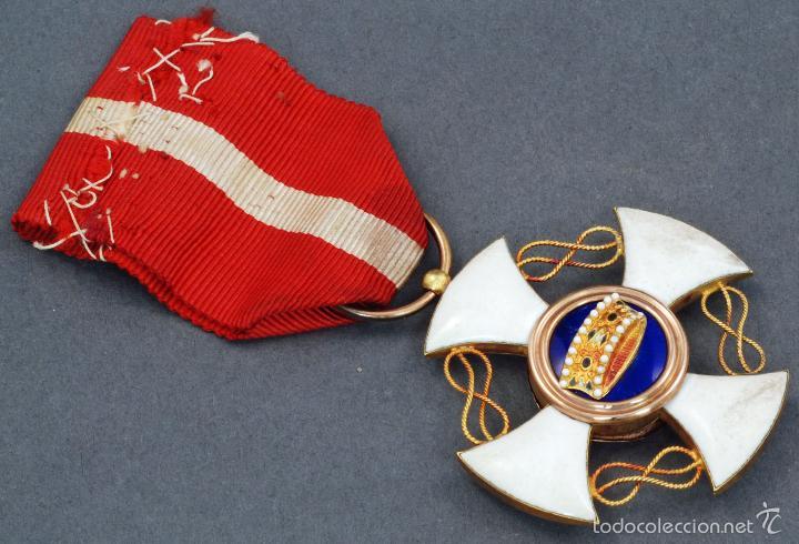 Militaria: Cruz Orden Caballero Corona Italia oro y esmalte con cinta - Foto 2 - 59159775