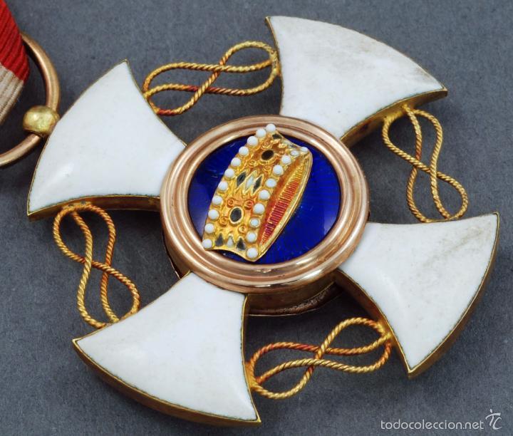 Militaria: Cruz Orden Caballero Corona Italia oro y esmalte con cinta - Foto 3 - 59159775