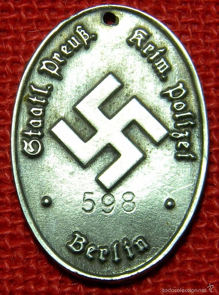 PLACA DE IDENTIFICACIÓN STAATLICHE PREUSSISCHE KRIMINALPOLIZEI. - MATERIAL: GERMAN SILVER - PLATA (Militar - Reproducciones y Réplicas de Medallas )