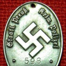 Militaria: PLACA DE IDENTIFICACIÓN STAATLICHE PREUSSISCHE KRIMINALPOLIZEI. - MATERIAL: GERMAN SILVER - PLATA. Lote 161140497