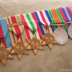 Militaria: PASADOR DE VETERANO BRITÁNICO. 2ª GUERRA MUNDIAL. SEIS MEDALLAS. AFRICA, ITALIA, FRANCIA, ALEMANIA. Lote 59652167