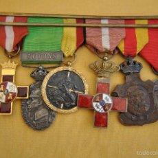 Militaria: PASADOR CON SEIS MEDALLAS, ALFONSO XII Y GUERRA CIVIL ESPAÑOLA.. Lote 59697207