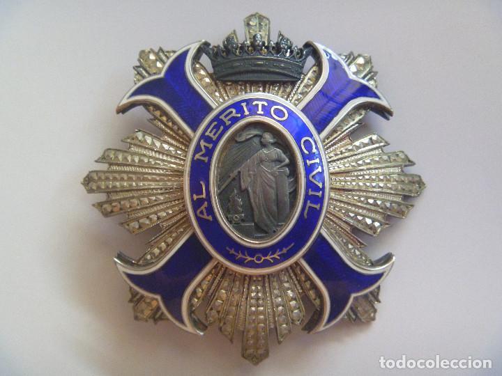 IMPRESIONANTE PLACA AL MERITO CIVIL EN PLATA Y ESMALTES , EPOCA DEL CAUDILLO FRANCO (Militar - Medallas Españolas Originales )