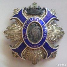 Militaria: IMPRESIONANTE PLACA AL MERITO CIVIL EN PLATA Y ESMALTES , EPOCA DEL CAUDILLO FRANCO. Lote 61424907
