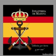 Militaria: AZULEJO 10X10 DE LA INFANTERIA DE MARINA CON LEMA Y BANDERA DE ESPAÑA. Lote 61967684