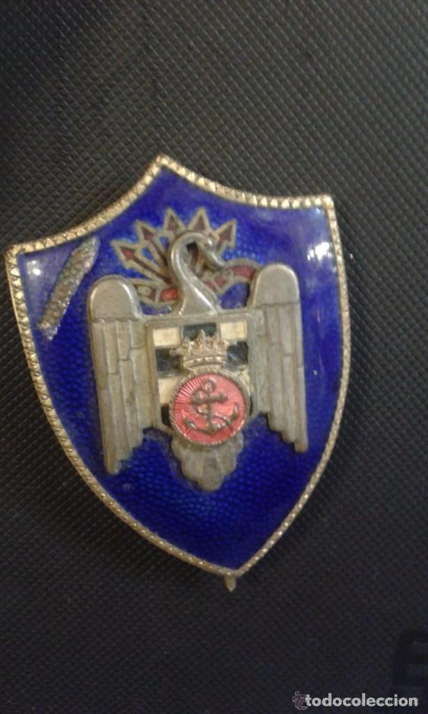 INSIGNIA EN ESMALTE, FALANGES DEL MAR, FRENTE DE JUVENTUDES, FALANGE 6 X 4 CM (Militar - Medallas Españolas Originales )
