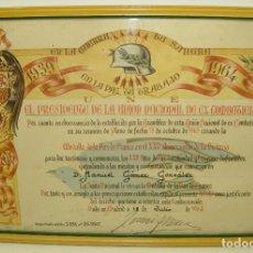 Militaria: TÍTULO UNIÓN NACIONAL EX COMBATIENTES,MEDALLA DE LA PAZ DE FRANCO,XXV ANIVERSARIO VICTORIA,1964. Lote 63151788