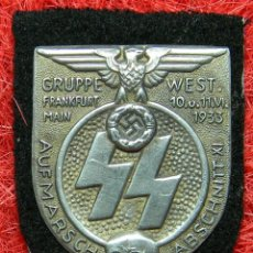 Militaria: 1933 SS GROUP FRANKFURT MAIN WEST - GEDÄCHTNIS-MARSCH ABZCHNITT XI - ZINC Y FIELTRO. Lote 64752407