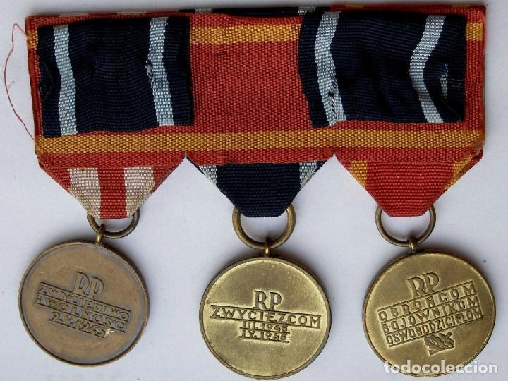 Militaria: Polonia: Pasador medallas. Veterano Segunda Guerra Mundial. Liberación de Varsovia y frente Báltico - Foto 2 - 65762474
