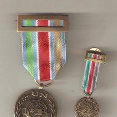 Militaria: CONJUNTO DE MEDALLA Y MEDALLITA O.N.U-MISIÓN DE PAZ. Lote 27352705