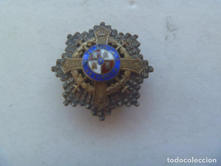 MINIATURA DE SOLAPA DE LA PLACA AL MERITO EN CAMPAÑA. PLATA Y ESMALTES , EPOCA DEL CAUDILLO FRANCO (Militar - Medallas Españolas Originales )
