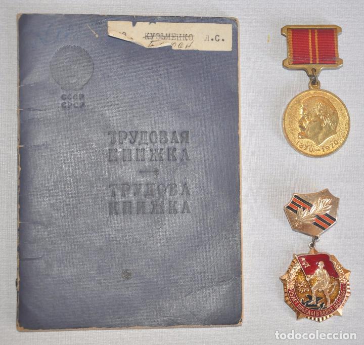 LOTE SOVIETICO BARAN.DOS.MEDALLAS .PAPEL -VIDA LABOLAR.URSS (Militar - Medallas Extranjeras Originales)
