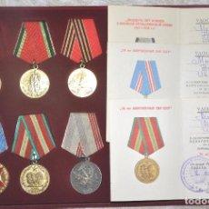 Militaria: LOTE DE 12 MEDALLAS SOVIETICOS PARA UNA PERSONA .MOSCALENKO ./CON PAPELES.URSS. Lote 68695285