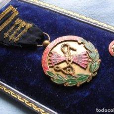 Militaria: MEDALLA, MINIATURA Y ESTUCHE ORIGINAL DE FALANGE INASEQUIBLE AL DESALIENTO. ALTO JERARCA FALANGISTA.. Lote 69501321