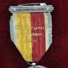 Militaria: MEDALLA DISTINCION ARQUEBUSE ET NAVIGATION GENEVE. FIRMADA POR HUGUENIN. AÑO 1856. Lote 71642691