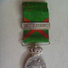 Militaria: GUERRA DE AFRICA : MEDALLA DE LA CAMPAÑA DE MARRUECOS PARA OFICIALES. PASADOR: TETUAN. BAÑO PLATA.. Lote 76518711