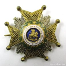 Militaria: ANTIGUA MEDALLA PREMIO A CONSTANCIA MILITAR-ORDEN SAN HERMENEGILDO-METAL DORADO Y ESMALTE-TROQUELADA. Lote 76530219