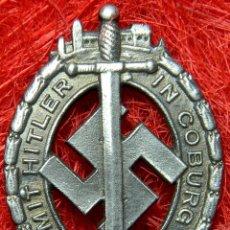 Militaria: NSDAP – TRADITIONS –GAU – ABZEICHEN. MIT HITLER IN COBBURG 1922 – 1932. MEDIDAS: 55 X 40 MM. Lote 98486808