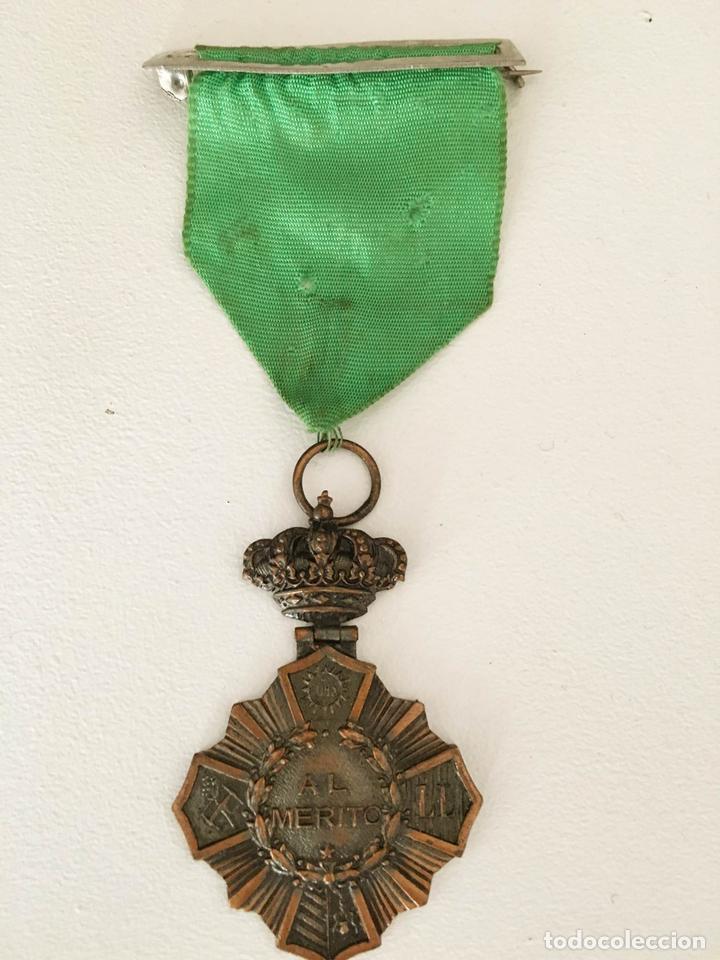 PRECIOSA MEDALLA ANTIGUA ORIGINAL AL MERITO EJERCITO U ORDEN RELIGIOSA JHS COBR BANDA EN COLOR VERDE (Militar - Medallas Españolas Originales )
