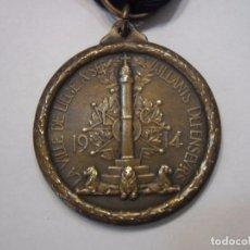 Militaria: BELGICA-MEDALLA DE LOS DEFENSORES DE LIEJA 1914/1918, MEDALLA EN BRONCE CON SU CINTA . Lote 82595496
