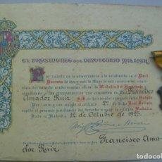 Militaria: LOTE MEDALLA DEL HOMENAJE DE LOS AYUNTAMIENTOS Y DIPLOMA CONCESION, FIRMA PRIMO RIVERA.. Lote 83290016