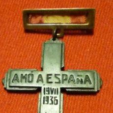 Militaria: MEDALLA AMO A ESPAÑA. GUERRA CIVIL. FALANGE. Lote 86129884