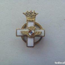Militaria: AVIACION : MINIATURA SOLAPA CRUZ DEL MERITO AEREO , DISTINTIVO BLANCO, EPOCA DE FRANCO . PLATA. Lote 88880756