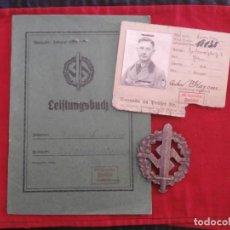 Militaria: DISTINTIVO DE DEPORTE SA SPORT ABZEICHEN BRONCE II GUERRA MUNDIAL CON SU DOCUMENTACIÓN 100% ORIGINAL. Lote 89396412