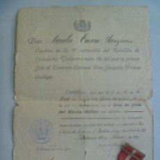 Militaria: GUERRA AFRICA : CONCESION MEDALLA PLATA MERITO Y MEDALLA . BTON. CAZADORES TALAVERA. YHADUMEN, 1912. Lote 89694440