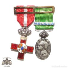 Militaria: PASADOR DE MEDALLAS ÁFRICA - MÉRITO ROJO Y CAMPAÑA DE MARRUECOS CON PASADOR MELILLA. Lote 89831400
