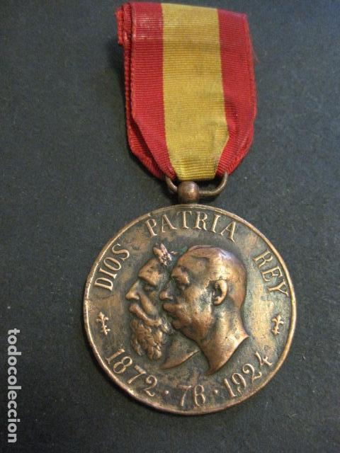 MEDALLA CARLISMO - VETERANOS DE LA LEGITIMIDAD DIOS PATRIA REY 1872-76- 1924-VER FOTOS-(V- 11.640) (Militar - Medallas Españolas Originales )
