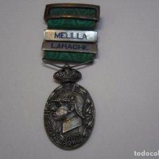 Militaria: MEDALLA DE PLATA DE MARRUECOS-OFICIALES, CON SU CINTA ORIG Y DOS PASADORES PLATA-MELILLA/LARACHE. Lote 89926692