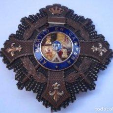 Militaria: ORDEN DE MARIA CRISTINA, PLACA DE 1 CLASE CON REVERSO GRAVADO 1897,CENTROS,LISES,CORONA Y RECT. ORO . Lote 89980720