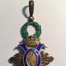Militaria: ORDEN AL MERITO CIVI. PLATA Y ESMALTES. 7,5 X 5 CM CON EL LAUREL (SIN CONTAR ANILLA). Lote 90048716