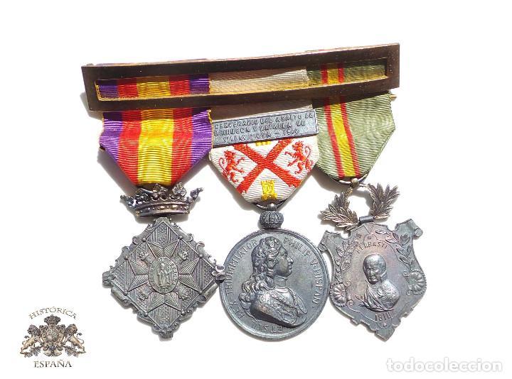 PASADOR DE MEDALLAS CENTENARIO - GERONA - VILLAVICIOSA Y BRIHUEGA - CIUDAD RODRIGO - PERFECTO ESTADO (Militar - Medallas Españolas Originales )