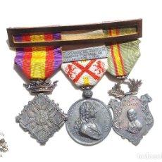 Militaria: PASADOR DE MEDALLAS CENTENARIO - GERONA - VILLAVICIOSA Y BRIHUEGA - CIUDAD RODRIGO - PERFECTO ESTADO. Lote 90096452