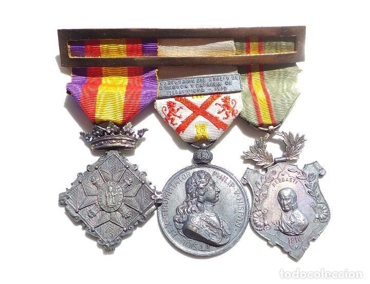 Militaria: PASADOR DE MEDALLAS CENTENARIO - GERONA - VILLAVICIOSA Y BRIHUEGA - CIUDAD RODRIGO - PERFECTO ESTADO - Foto 2 - 90096452