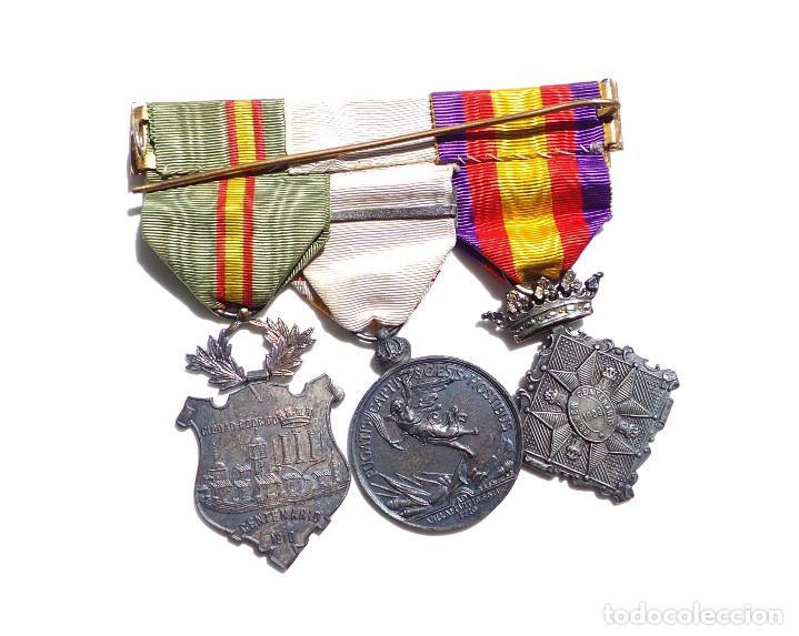 Militaria: PASADOR DE MEDALLAS CENTENARIO - GERONA - VILLAVICIOSA Y BRIHUEGA - CIUDAD RODRIGO - PERFECTO ESTADO - Foto 4 - 90096452