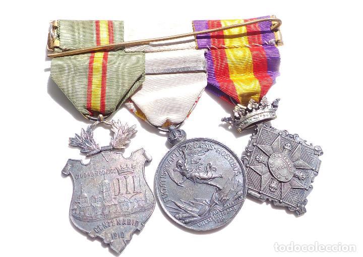 Militaria: PASADOR DE MEDALLAS CENTENARIO - GERONA - VILLAVICIOSA Y BRIHUEGA - CIUDAD RODRIGO - PERFECTO ESTADO - Foto 5 - 90096452