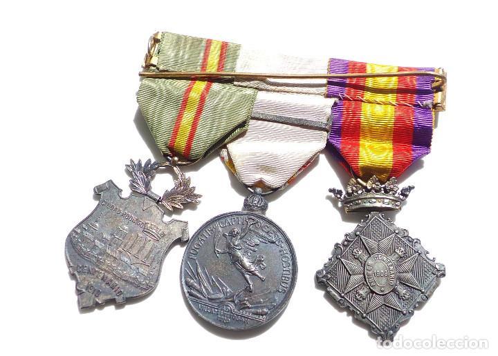 Militaria: PASADOR DE MEDALLAS CENTENARIO - GERONA - VILLAVICIOSA Y BRIHUEGA - CIUDAD RODRIGO - PERFECTO ESTADO - Foto 7 - 90096452