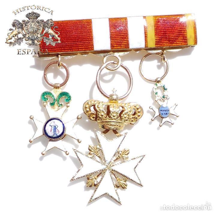 PASADOR DE MEDALLAS EN ORO. MILICIA NACIONAL MOVILIZADA 1841, CRUZ DE SAN FERNANDO, ORDEN DE MALTA (Militar - Cintas de Medallas y Pasadores)