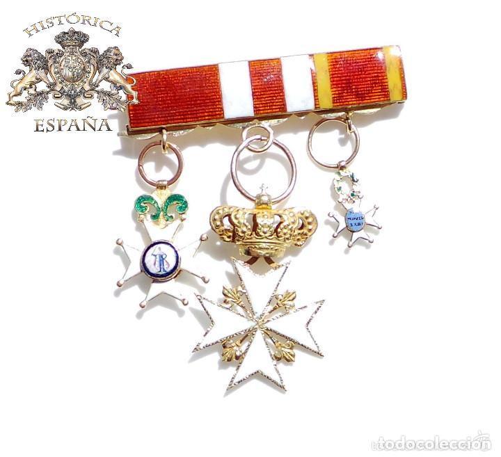 Militaria: PASADOR DE MEDALLAS EN ORO. MILICIA NACIONAL MOVILIZADA 1841, CRUZ DE SAN FERNANDO, ORDEN DE MALTA - Foto 4 - 90572995