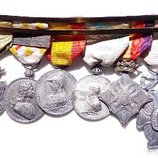 Militaria: PASADOR DE MEDALLAS CENTENARIOS CATOGIA PLATA - CIUDAD RODRIGO - VILLAVICIOSA - ZARAGOZA - SAMPAYO -. Lote 92718730