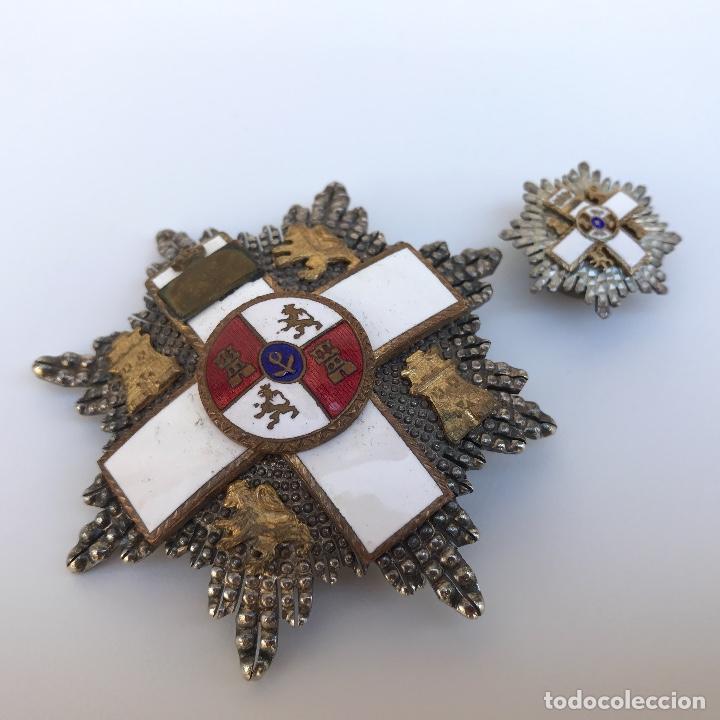 PLACA AL MÉRITO MILITAR. ÉPOCA TRANSICIÓN 1976 VIENE CON MINIATURA EN PLATA. (Militar - Medallas Españolas Originales )