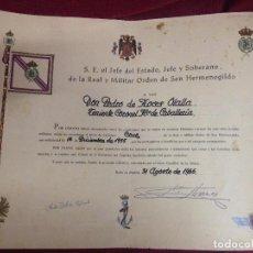Militaria: CONCESION CRUZ SAN HERMENEGILDO TENIENTE CORONEL DE CABALLERIA EPOCA DE FRANCO. Lote 96905875